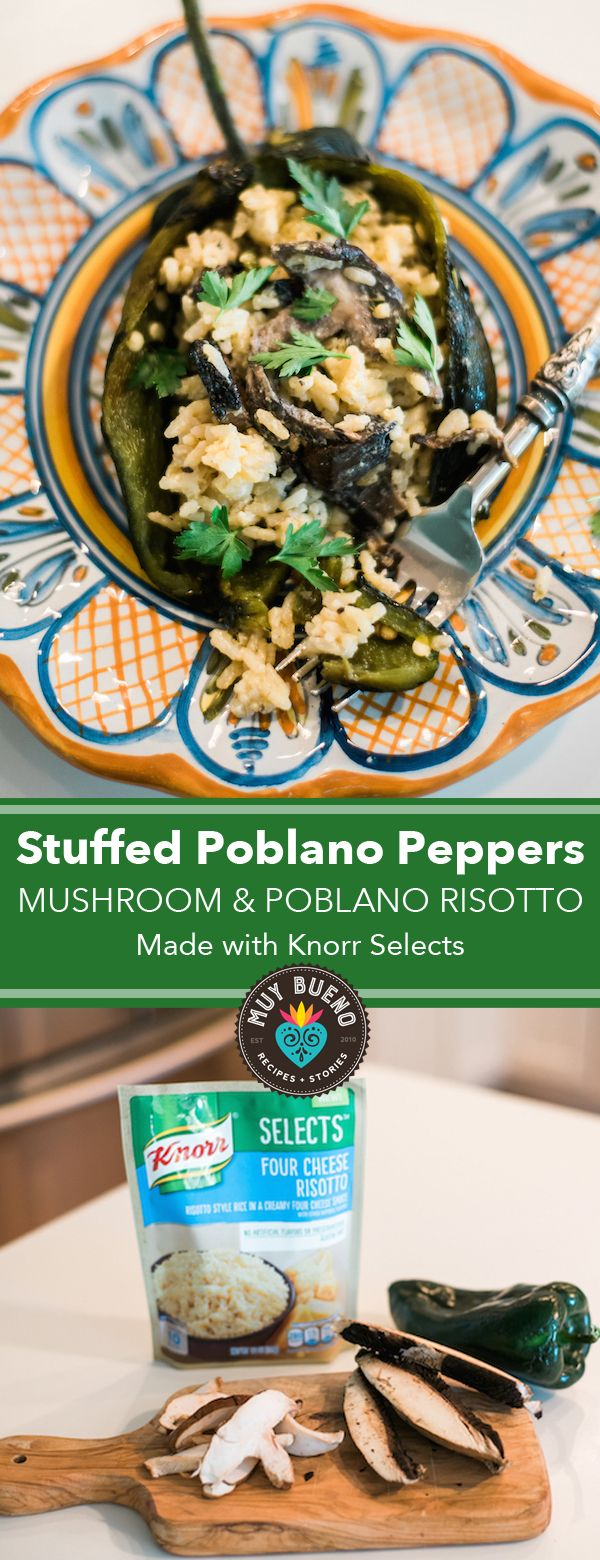 This one skillet mushroom and poblano risotto is stuffed in roasted poblanos giving this risotto a Mexican twist. This dish is made with @Knorr Selects and is simple and easy! #KnorrSelectsPartner #ad