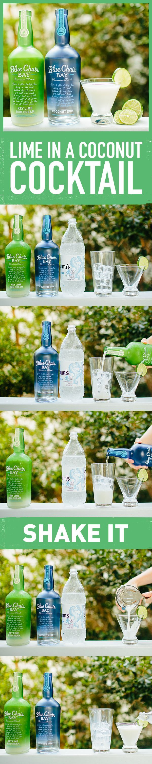 LIME IN A COCONUT COCKTAIL // 3 oz. Blue Chair Bay Key Lime Rum Cream + 1 oz. Blue Chair Bay Coconut Rum + 1 oz. club soda // Shake both rums together and double strain into martini glass. Top with club soda. #BlueChair