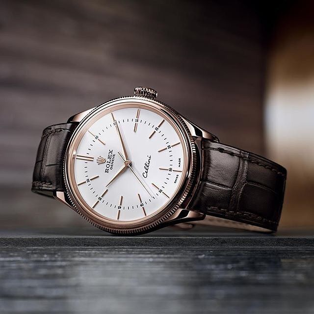 Rolex Cellini Time is an elegant timepiece in 18 ct Everose gold with a white lacquer dial. #Rolex #Cellini Photo credit: Rolex. See this Instagram photo by @mywatchsquare • 52 likes