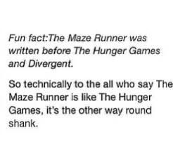 another fun fact: my teacher recommended The Maze Runner to me in 5th grade and I read the whole thing. so cool to see it a movie