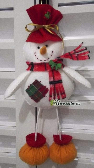for Christmas trees Suspension - snowman made of felt (2) (393x700, 246Kb)