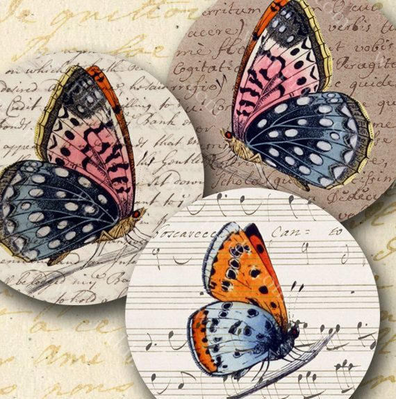 Butterfly engravings from the 1800s meet vintage maps, sheet music, handwriting and other bits of parchment from the 1700s. #Printables 774 by piddix.  Image size: 2 inch circles (50.8mm)