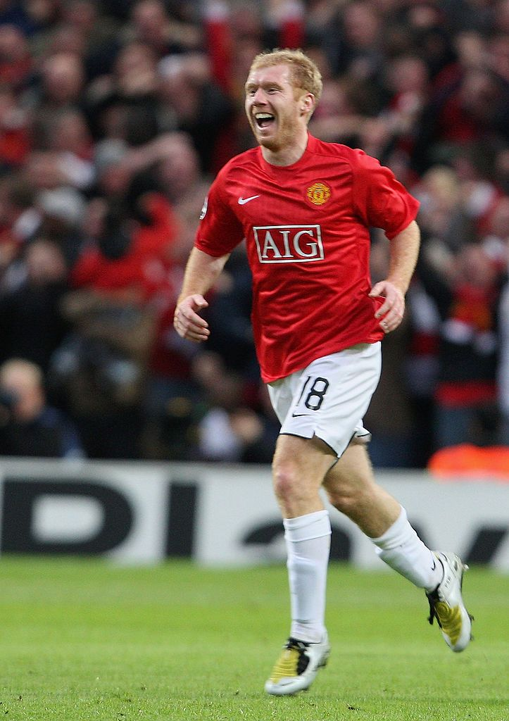Manchester England April 29 Paul Scholes Of Manchester United Celebrates Scorin Manchester United Players Manchester United Old Trafford Manchester United