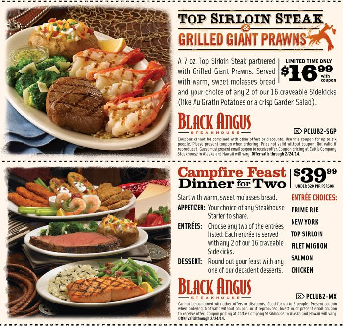 Black Angus: 2 Printable Coupons http://www.pinterest.com/TakeCouponss/black-angus-coupons/