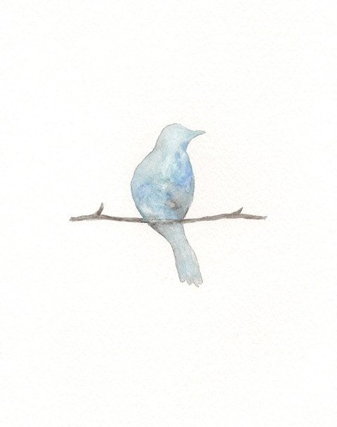 Serenity Blue Bird Watercolor Print by kellybermudez on Etsy, $20.00