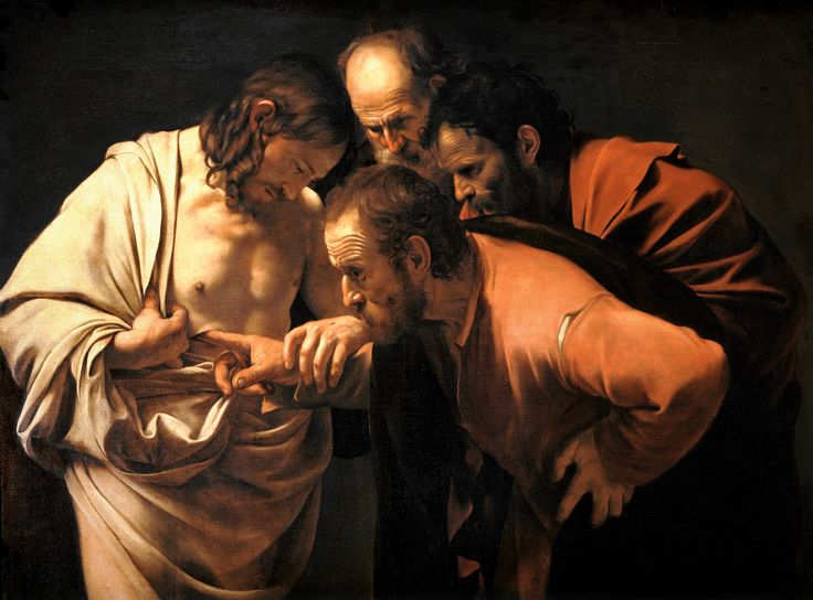 "CARAVAGGIO THOMAS IS OFTEN REFERRED TO AS ""DOUBTING THOMAS"" BECAUSE HE REFUSED TO BELIVE THAT JESUS HAD RISEN FROM THE DEAD."