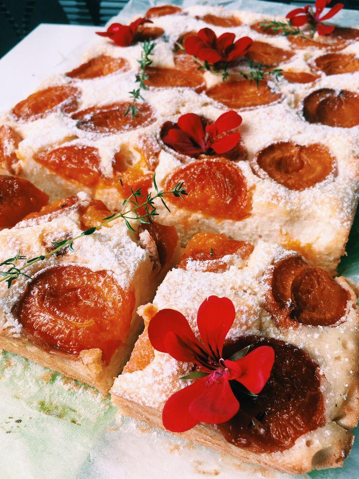 Ciasto ucierane z morelami, białym serem i tymiankiem