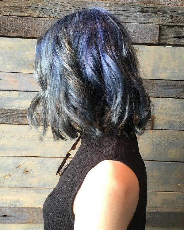 black hair with blue and gray highlights