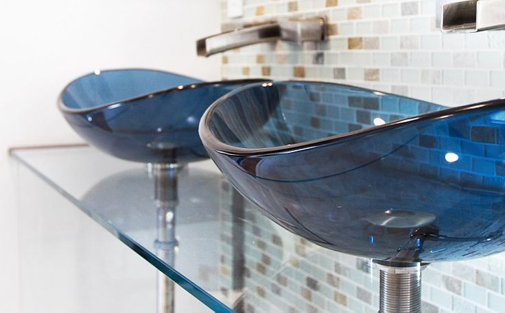Perfect Glassworks sink and glass vanity for powder room.