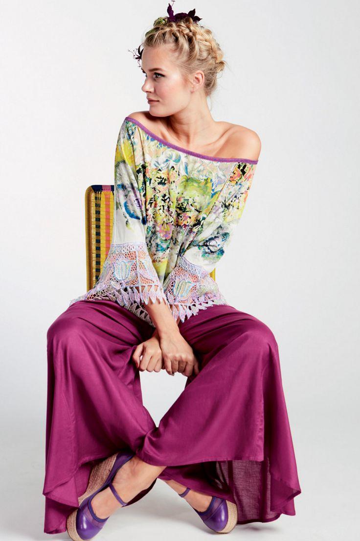 shirt met bloemenprint en kanten mouwen