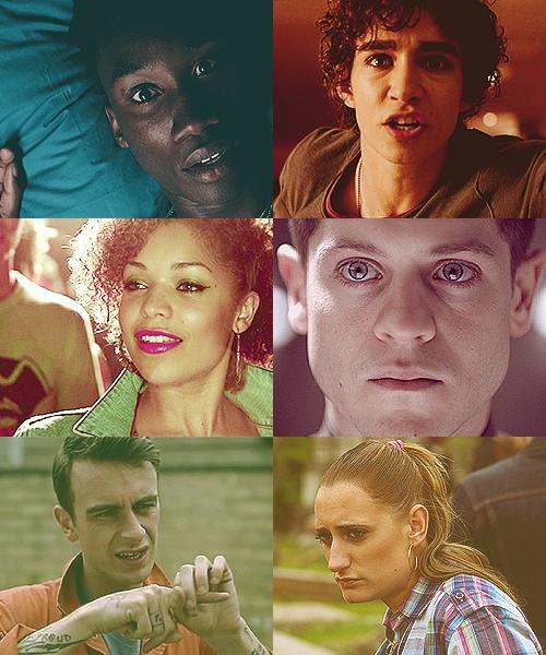 Misfits- Curtis, Nathan, Alisha, Simon, Rudy and Kelly.