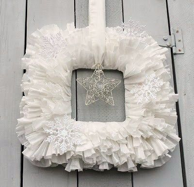 Cheap winter wreath made from coffee filters, cardboard and tree ornaments. Try making a fall wreath by dyeing the filters with tea! #DIY #Craft #Art #Decor