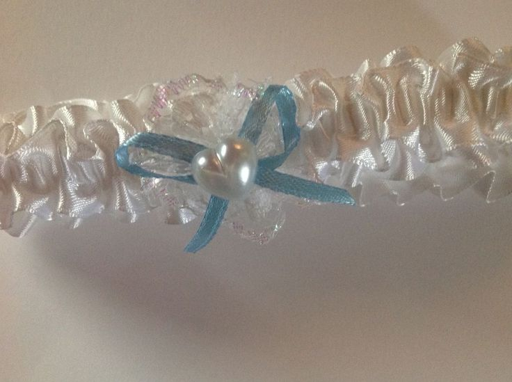 New White Ribbon Garter with pearl heart charm & blue bow Bridal wedding pretty