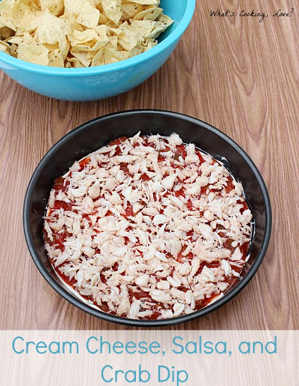 Cream Cheese, Salsa, and Crab Dip.  This is a fantastic and easy to make appetizer that combines the flavors of cream cheese, salsa, and crab.  This is great for any party or for watching sports. #dip #appetizer #crab