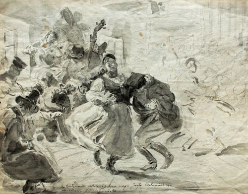 MAZURKI - the traditional trance music and dance from Mazowsze (Mazovia) region, the heart of Poland. A draft by Józef Chełmoński, 1878.