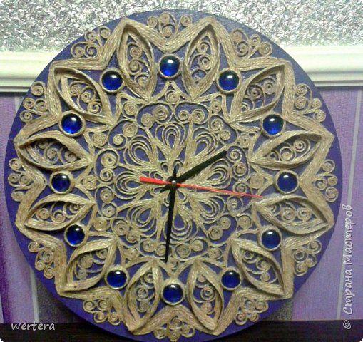 Поделка изделие Моделирование конструирование Джутовая филигрань Часы и накладка для выключателя Шпагат фото 1