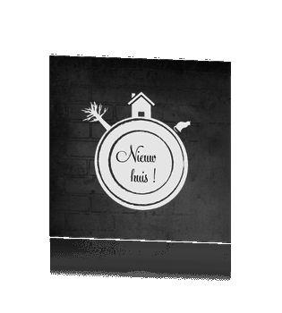 Originele verhuiskaart krijtbord met bakstenen huisje boompje beestje #verhuiskaartje #verhuiskaart