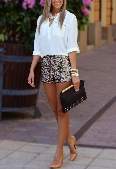 28 Gorgeous Bachelorette Outfits With A Wow Factor: #15. Sequin shorts, a white shirt, nude heels and a statement necklace