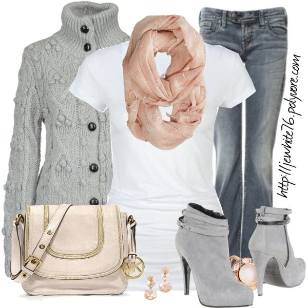 Gray and Pink by jewhite76 on Polyvore featuring Lunatic, Active, Silver Jeans Co., Pianurastudio, MICHAEL Michael Kors, Astley Clarke, Kate Spade and American Eagle Outfitters