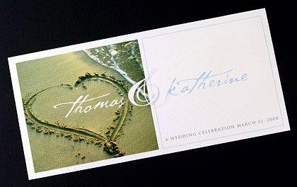 Destination wedding invitations featuring a heart in the sand image. www.kardella.com