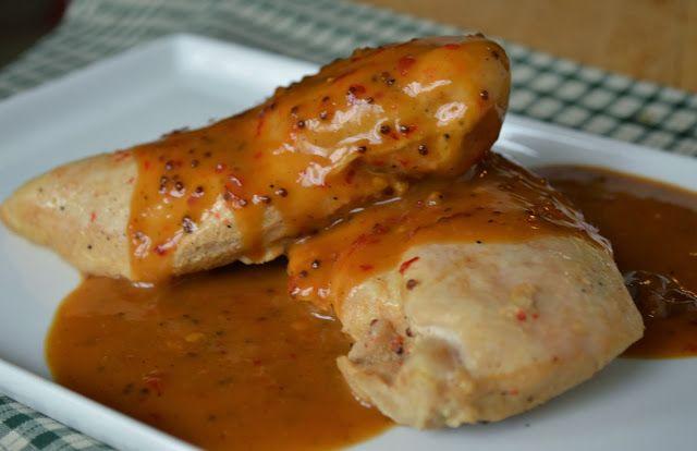 Paleo Spicy Mustard Crockpot Chicken by Plaid and Paleo. #paleo #crockpot #recipe