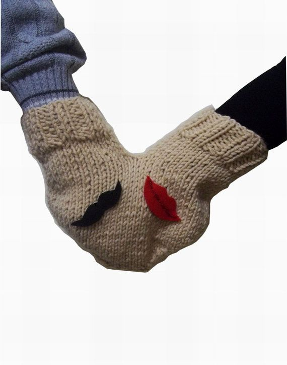 Couples glove Lovers mitten for him and her by KnitterPrincess