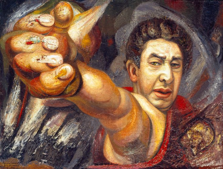 "DAVID ALFARO SIQUEIROS, Autorretrato, 1945 David Alfaro Siqueiros (born José de Jesús Alfaro Siqueiros, December 29, 1896, in Chihuahua, Chih. - January 6, 1974, in Cuernavaca, Morelos) was a Mexican social realist painter, better known for his large murals in fresco. Along with Diego Rivera and José Clemente Orozco, he established ""Mexican Muralism."" He was a Stalinist and member of the Mexican Communist Party who participated in an unsuccessful attempt to assassinate Leon Trotsky in May…"