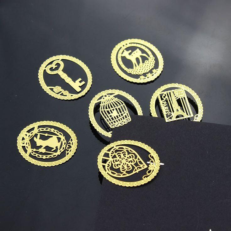10 UNIDS Kawaii Bookmark Oro Metal Jaula Moda Clips para Papel Libros Productos Creativos equipos de Oficina
