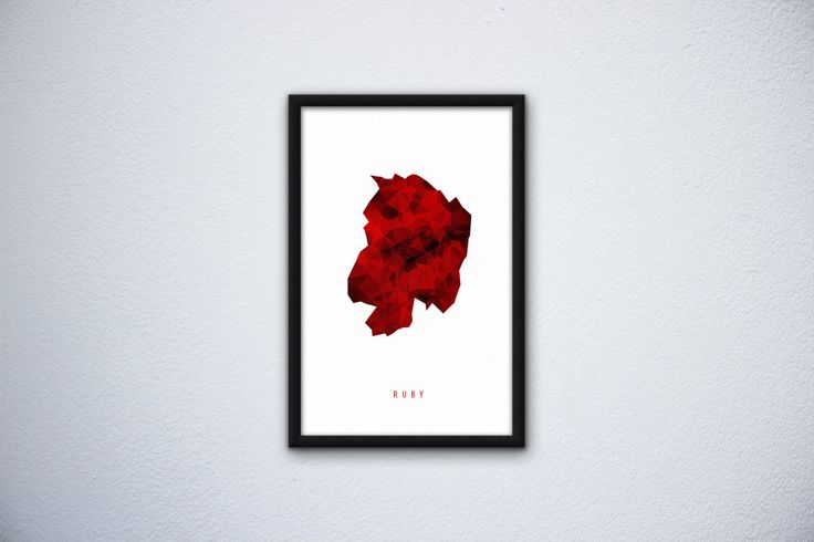 Mineral poster Ruby by SliwkaGraphics on Etsy