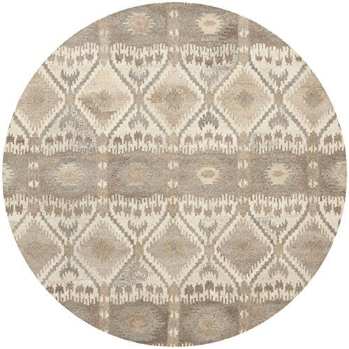 Safavieh Wyndham Collection Wyd720a Handmade Natural And Multi Wool Round Area Rug 7 Feet In