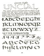 On-Line Calligraphy Lesson - Unical with practice sheets and blank guide pages