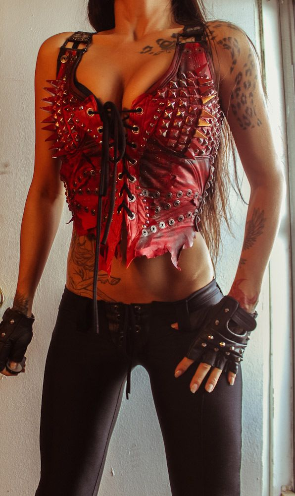 Image of TOXIC VISION Procession red studded leather bustier