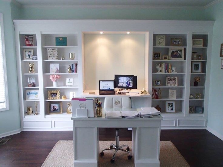 my diy office built ins we used 4 ikea hemnes bookcases love how it