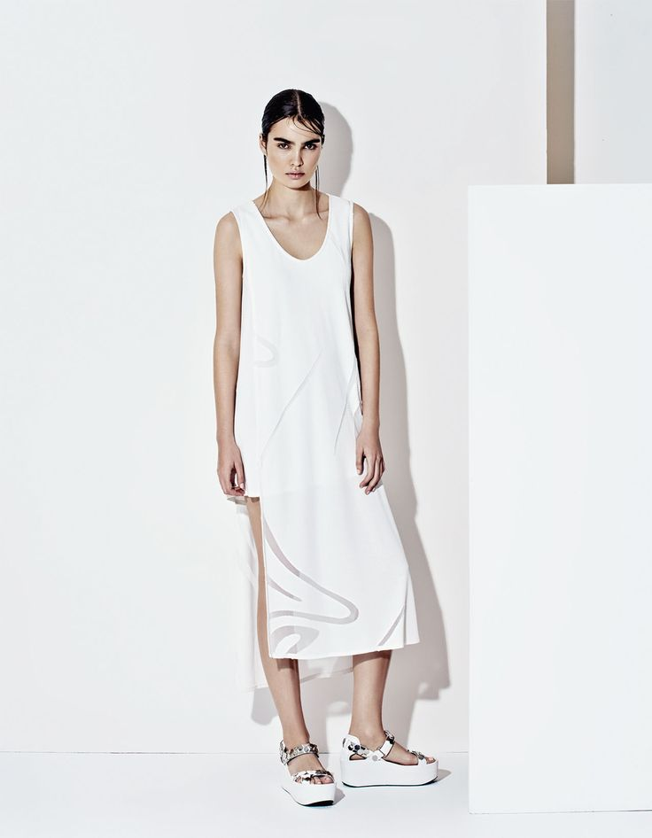 Elegant semi trasparent white midi dress, futuristic style