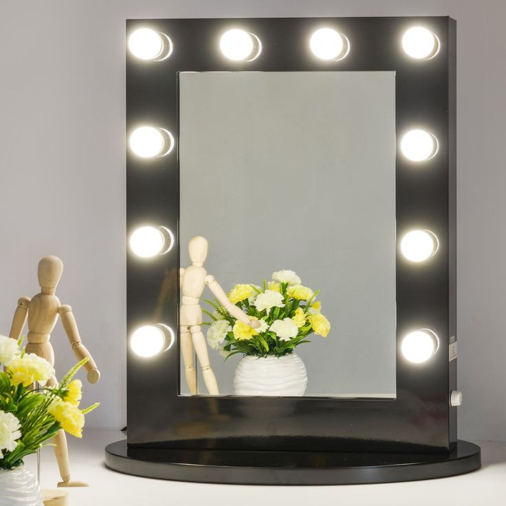 Amazon.com: Chende Black Hollywood Makeup Vanity Mirror With Light  Tabletops Lighted Mirror With