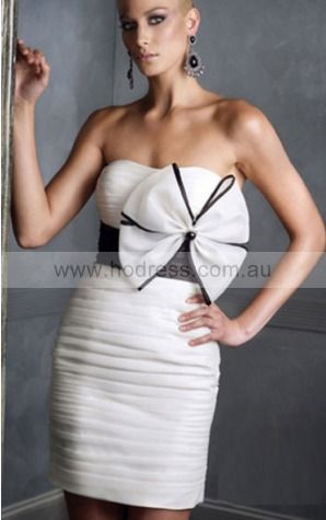 Sheath Strapless Knee-length Taffeta Empire Evening Dresses gt1408--Hodress