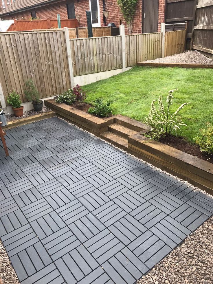 Ikea runnen decking tiles used to create a new garden  driveway in 2019  Ikea patio Deck tile