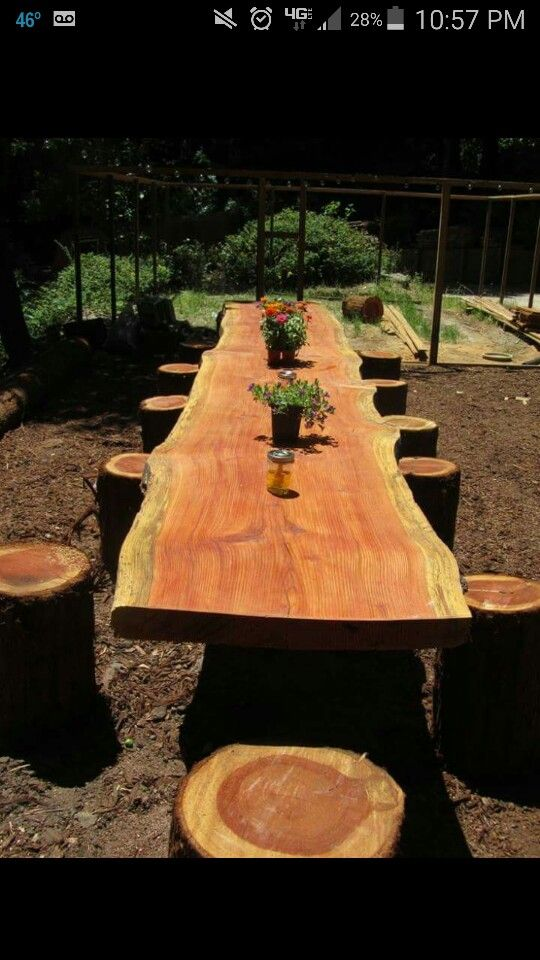 Outside deck table