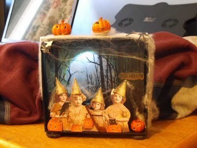 halloween shadow box that lights up made by jullie dodds great idea for grandkids idea - Halloween Diorama Ideas