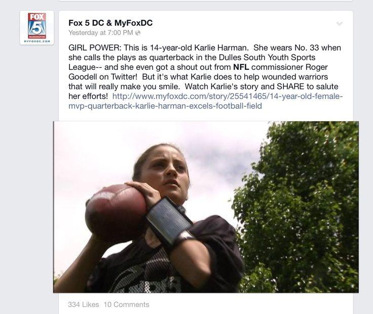 Fox5 DC interview on Karlie about her football status of Quarterback, kicker, safety.  Introducing her business.  KAR-D-O By Karlie.   Www.kardobykarlie.com