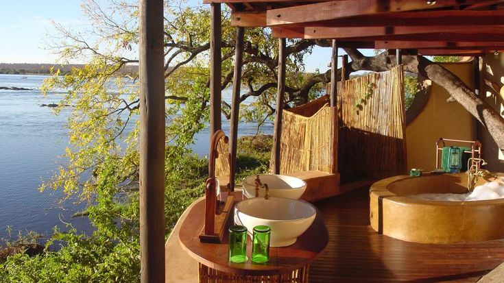 Tongabezi Lodge, Livingstone, ZambiaBathroom Design, Outdoor Shower, Dreams Bathroom, Tongabezi Lodges, Upstairs Bathroom, Victoria Fall, Bathroom Ideas, Outdoor Fireplaces, Outdoor Bathroom
