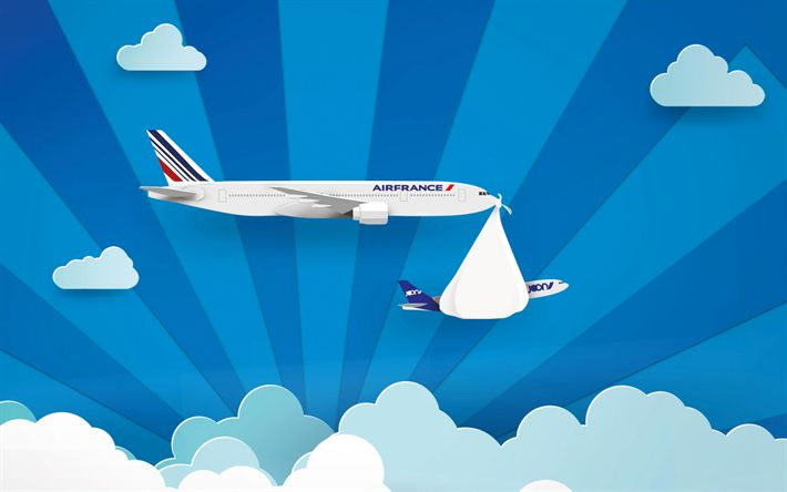 Download wallpapers Air France, art, plane, blue sky, AF, AirFrance