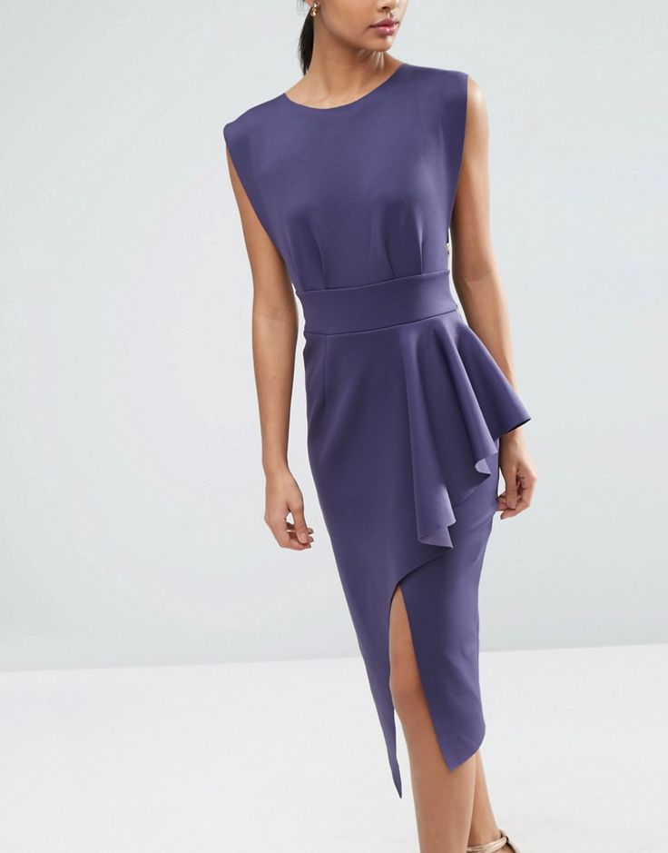 Image 3 ofASOS Open Side Zip Front Fold Peplum Midi Dress