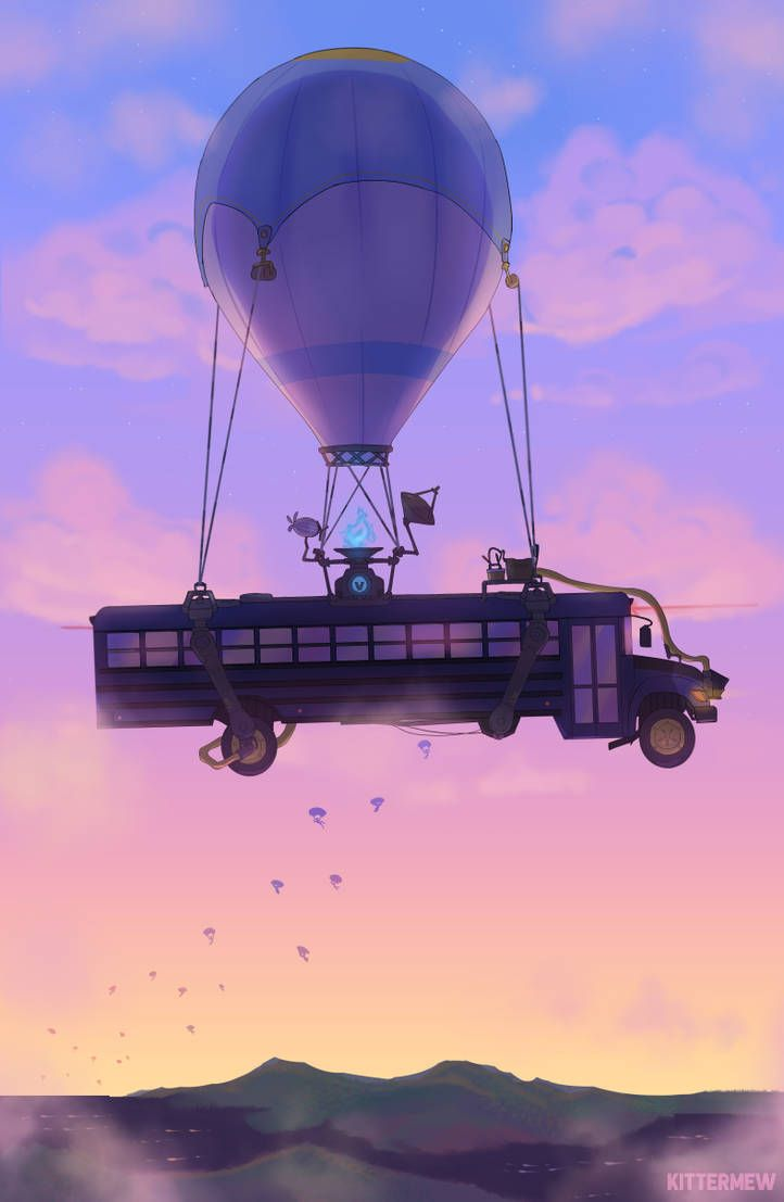 Battle Bus By Kittermew With Images Bus Art Fortnite Video