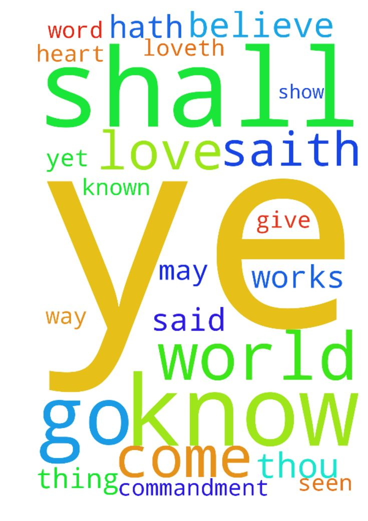 John 14King James Version (KJV)  14 Let not your heart - John 14King James Version KJV 14 Let not your heart be troubled ye believe in God, believe also in me. 2 In my Fathers house are many mansions if it were not so, I would have told you. I go to prepare a place for you. 3 And if I go and prepare a place for you, I will come again, and receive you unto myself; that where I am, there ye may be also. 4 And whither I go ye know, and the way ye know. 5 Thomas saith unto him, Lord, we know not…