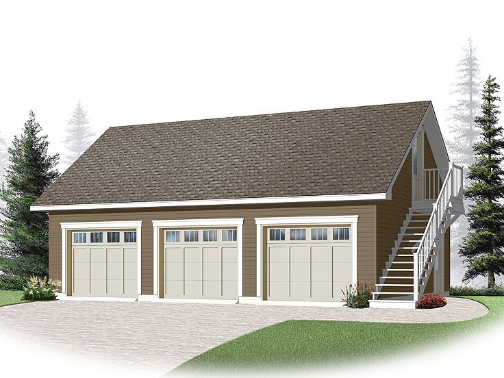 Detached 3 car garage plans woodworking projects plans for Shop with apartment