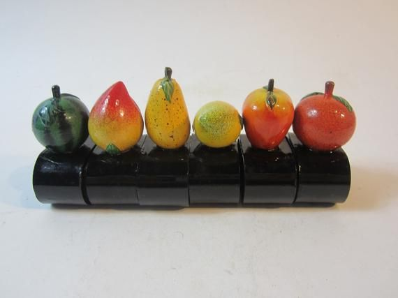 A Lovely Set of Six Beautifully Coloured Vintage Wooden 'Fruit' Napkin Rings/Napkin Holders/Serviette rings, Made in France