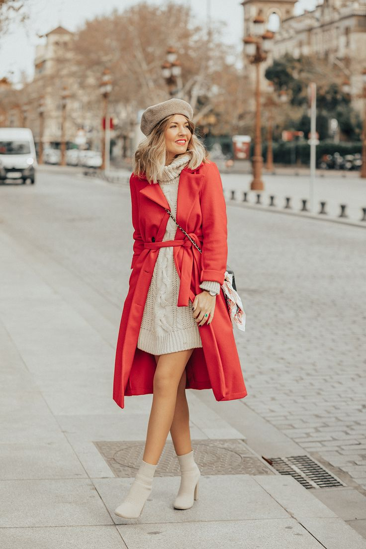 vestido - jersey en crema-beige & abrigo en rojo - complementos en crema-beige (abrigorojo_2)