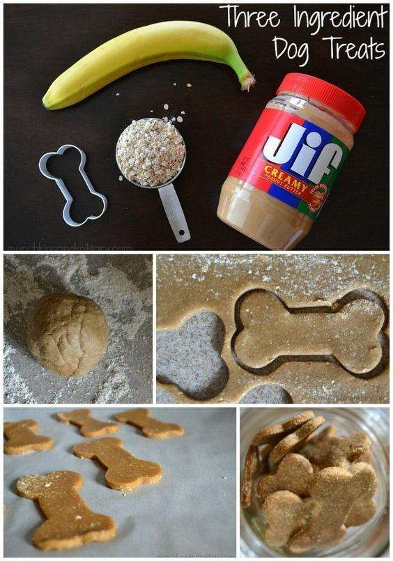Homemade Peanut Butter Banana Dog Treats - Munchkins and the Military