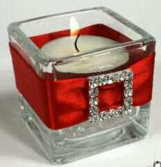 square candle holder with red satin sparkle buckle
